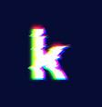 realistic glitch font character k vector image vector image
