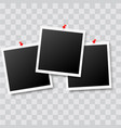 realistic photo frames with red pins vector image