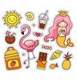 set of cartoon patches badge pins little vector image