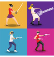 set of four women gaming in virtual reality vector image vector image