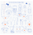 Set of kitchen tools on notebook paper vector image