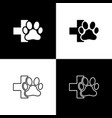 set veterinary clinic symbol icons isolated on vector image