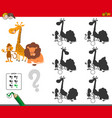 shadows game with cute animal characters vector image vector image