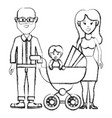 silhouette happy couple with their baby icon vector image vector image