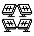 solar panel farm icon outline style vector image