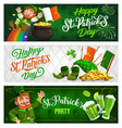 st patrick day cartoon banners with leprechaun vector image vector image