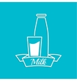The traditional bottle of milk and glass cup vector image vector image