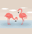 two pixel art flamingos are standing in water vector image vector image