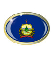 vermont state flag oval button vector image vector image