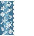 vertical repeating pattern with seafood products vector image