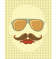 Male face with mustache and glasses vector image