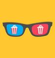 3d glasses popcorn box cinema movie night icon vector image vector image