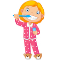 A Young Girl Brushing Her Tooth vector image vector image