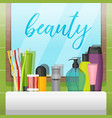 bathroom with mirror and colorful cosmetic bottles vector image vector image