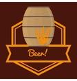 beer barrel wooden wheats label brown background vector image vector image