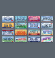 car plates vehicle license numbers different vector image vector image