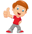 Cartoon little boy giving thumb up vector image vector image
