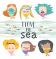 cartoon set with little mermaids under sea vector image vector image