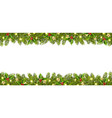 christmas banner with christmas tree garland vector image vector image
