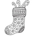 christmas boot coloring page for adults and kids vector image