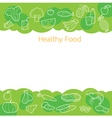 Clean food outline icons on green background vector image vector image