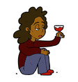 comic cartoon unhappy woman with glass of wine vector image vector image