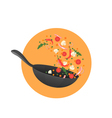 Cooking process Flipping Asian food in a pan vector image vector image