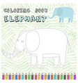 cute cartoon elephant silhouette for coloring book vector image