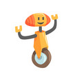 cute cartoon orange robot character on a wheel vector image vector image
