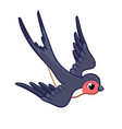 cute swallow is flying rapidly to bottom on a vector image