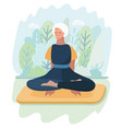 elderly woman practicing yoga in park vector image
