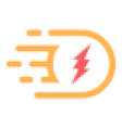 electric power halftone dotted icon with fast rush vector image