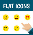 flat icon expression set of laugh joy hush and vector image vector image