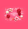 flat lay valentines card vector image vector image
