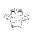 Flying doodle owl Free hugs fluffy bird vector image vector image
