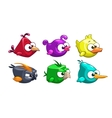 Funny cartoon crazy birds set vector image vector image