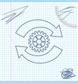 gear and arrows as workflow concept line sketch vector image