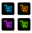 glowing neon shopping cart with check mark icon vector image vector image