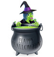 halloween witch and cauldron vector image vector image