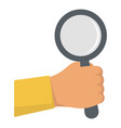 hand magnify glass icon flat style vector image