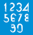 Handwritten white numbers isolated on blue vector image