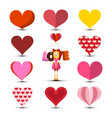 hearts set with girl and love title isolated on vector image