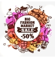 Hipster fashion clothing discount doodle icon vector image