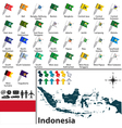 Indonesia map with flags vector image vector image