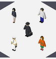 isometric human set of girl lady detective and vector image