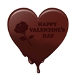 Melting chocolate heart with the words Valentine s vector image