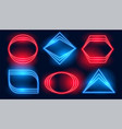 neon frames in six different geometric shapes vector image