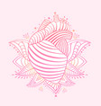 ornamental heart print st valentine card vector image