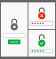 password web interface design vector image vector image