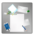 Pencil and White Rose on Blank Page with Envelope vector image vector image